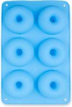 Jendi Hoogwaardige Siliconen Donutvorm - Donut Bakvorm - Goede Kwaliteit - Anti Kleeflaag - 6 Donuts - Zelf Donuts Bakken - Blauw