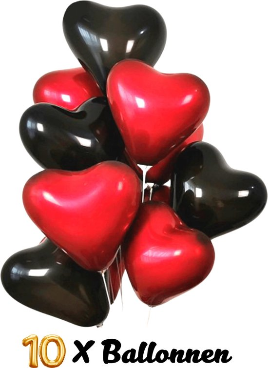 Hartjes Ballonnen - 10 Stuks - Rood & Zwart - Latex Ballonnen - Ø 25 cm - Romantische Versiering - Valentijn - Huwelijk - Verloving - Bruiloft - Jubileum