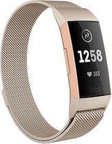 Fitbit Charge 3 & 4 bandje van By Qubix - milanese -  Maat: small - Zilver/Goud - magneetsluiting - Inclusief garantie!