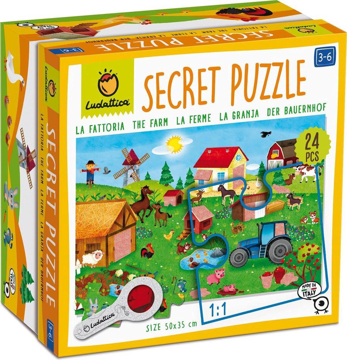 Ludattica Puzzels: BOERDERIJ - Secret puzzel 18x18x10,5cm, 24-delig, 35x50cm, met vergrootglas met rode filter, 3+