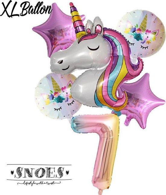 * Snoes * Unicorn * Eenhoorn * Set van 6 Ballonnen XL * Unicorn Nummer 7 * Zevende verjaardag * Hoera 7 Jaar * Birthday