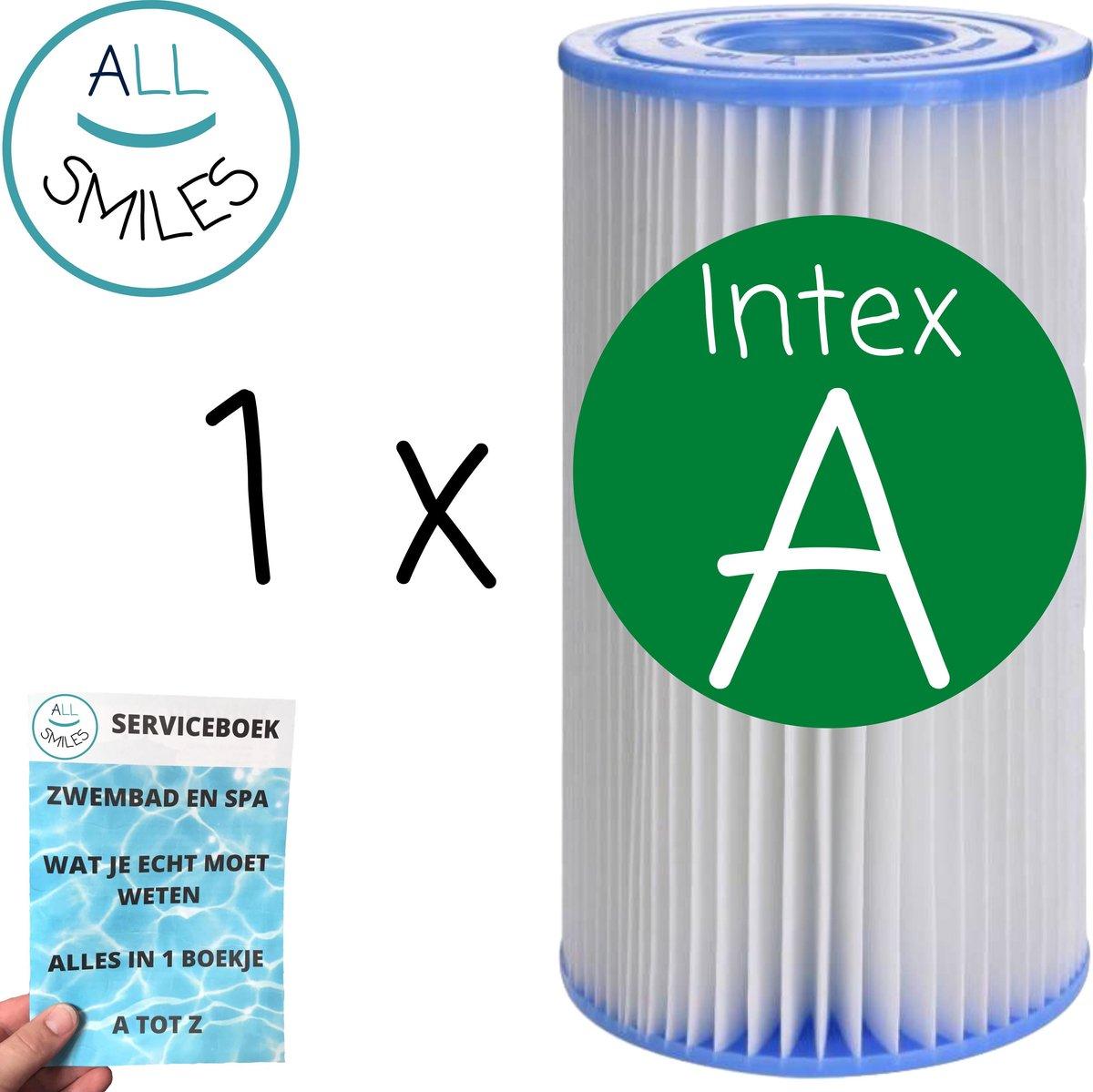 1 x Intex Zwembadfilter Type A voor Zwembad voor Onderhoud - Filtercartridge - Onderhoudsfilter - Filter Type A + All Smiles Serviceboek