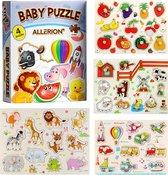 Allerion Houten Puzzel Set - 4 stuks – Legpuzzels – Vanaf 1 jaar - STEM Speelgoed - Voertuigen - Boerderij - Dierentuin – Fruit