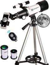 SPACEBRAIN® Original Telescoop - 70/400 mm - Sterrenkijker - Draagtas - Smartphone Adapter - Draadloze afstandsbediening.