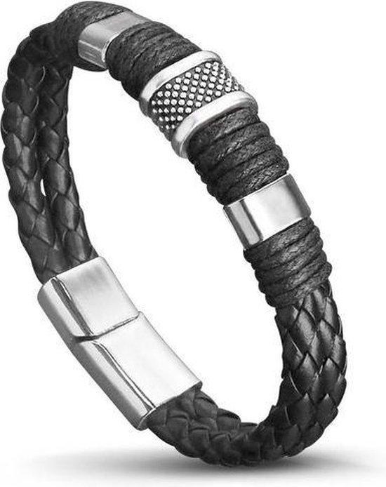 Armband heren leer - zilver - mannen - armbandje 20 cm - zwart - cadeau voor man - vaderdag kados - vader cadeautjes - papa - geschenk