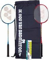 Yonex recreatieve badmintonset met draagtas: 2 Yonex GR-020 met 6 Mavis 200 geel shuttles
