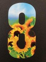 Huisnummer sticker zonnebloemen 8, zonnebloem sticker nr. 8, huisnummer cijfers - afvalbak nummers- kliko cijfer acht- container nummers- coverart- plakcijfers- zonnebloemhuisnummer- brievenbus nummers, CoverArt