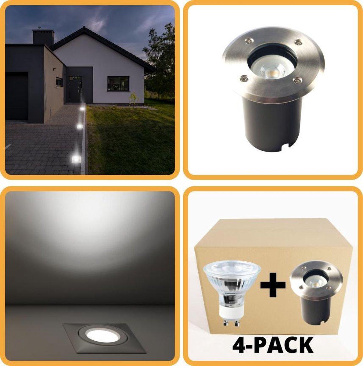 Proventa HeavyDuty LED Grondspots IP67 - Rond - 4 x inbouw tuinspots buiten - koud wit
