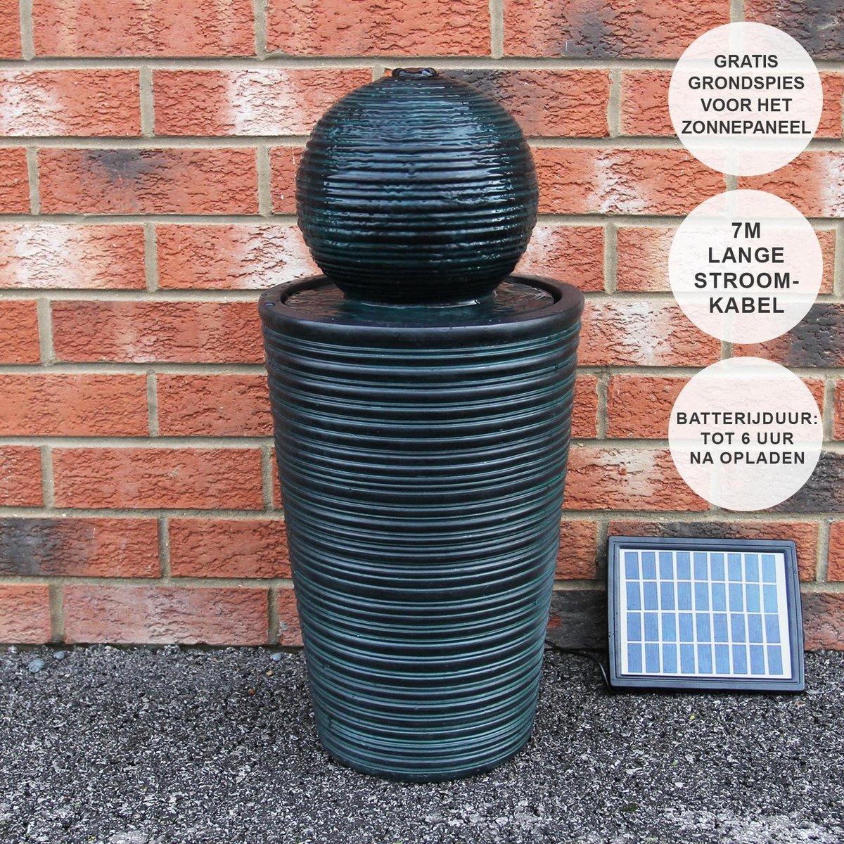 Bol fontein - Zonne-energie - Reservebatterij van 6 uur - 2.8 W 8 V - waterornament tuin