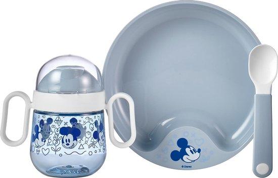 Mepal Mio – Babyservies 3-delig – bestaat uit een oefenbord, antilekbeker en oefenlepel – Mickey Mouse – licht in gewicht – kan tegen een stootje