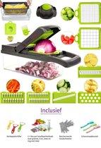 Solocare - Keukenmandoline - Multifunctionele groentesnijder - Uiensnijder - Fruitsnijder - Groen/grijs - Compleet set -15 delig