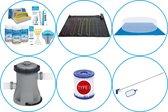 WAYS - Zwembad Accessoirepakket 6-delig - WAYS Onderhoudspakket & Zwembad verwarming & Filterpomp (58381) & Zwembad filters Type I & Onderhoudsset & Grondzeil