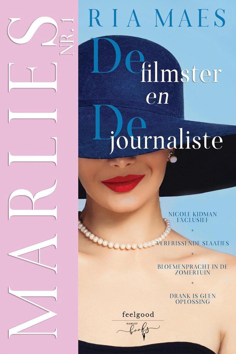 Cover van Marlies, de filmster en de journaliste geschreven door Ria Maes. Links is een zacht roze band waarop staat Marlies nr. 1 en rechts zien we een vrouw met een grote blauwe hoed. Haar lippen zijn rood gestift en ze draagt een parelketting.