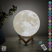 FOOCCA Maan Lamp 3D - 20 cm - Tafellamp - Accu 15 tot 89 uur - Maanlamp - Moon lamp 16 dimbare LED kleuren en Afstandsbediening