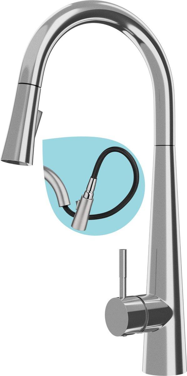 Medusa Keukenkraan met Uittrekbare Uitloop - RVS Handdouche met 2 Sproeistanden - Mengkraan - Hoge C