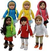Doll Hoodie Sweatshirt Set of 6 - T-Shirt met Capuchon voor 46cm Pop