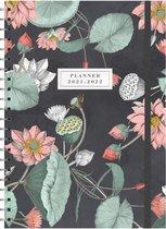 Hobbit schoolagenda 2021-2022 - A4 D3 - elastiek - zwarte ringband - 7 dagen over 2 pagina's - harde kaft met zacht effect - 144 pagina's - bloemen bladeren zwart - groot A4 formaat