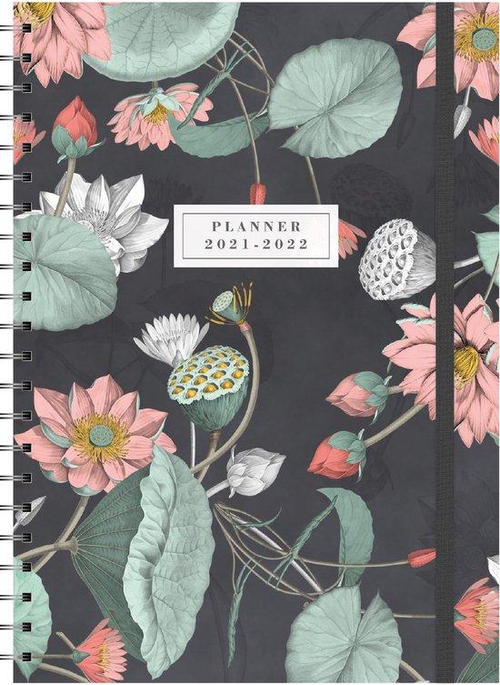 Afbeelding van Hobbit schoolagenda 2021-2022 - A4 D3 - elastiek - zwarte ringband - 7 dagen over 2 paginas - harde kaft met zacht effect - 144 paginas - bloemen bladeren zwart - groot A4 formaat