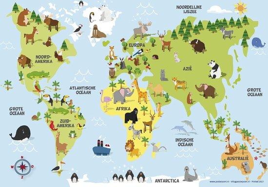 Poster wereldkaart voor kinderen - dieren - NEDERLANDSE TEKST-  UV lak - 70x100cm