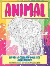 Livres à colorier pour les adolescents - Soulagement du stress Mandala - Animal