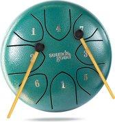 SoundsGood® Steel Tongue Drum - Handpan - 20 cm - 8 Tongen - Klankschaal incl. Beschermtas & Songbook - Steel Tongue Drum - Groen