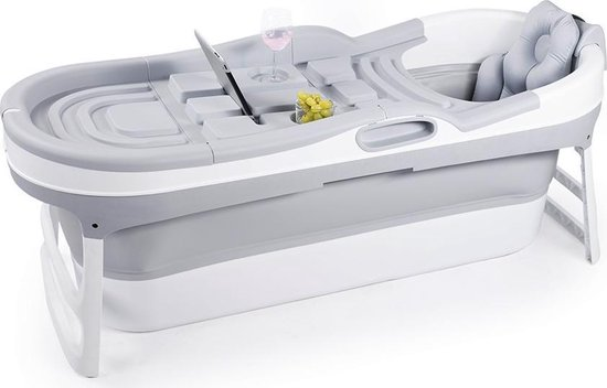 HelloBath Opvouwbaar Zitbad - Bath Bucket - 148cm - 220L - Extra lang - Incl. Badkussen & Opberghoes
