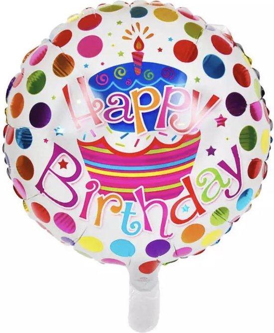 Happy Birthday ballon- HELIUM  BALON -folie ballon happy birthday -happy birthday folie ballon  | Happy Birthday | Ballon | Wit/Regenboog