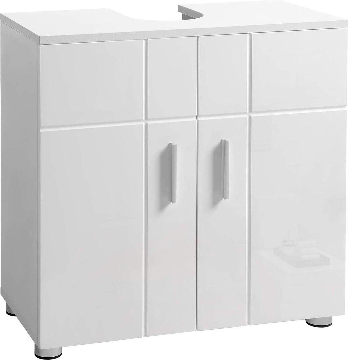 VASAGLE wastafelonderkast, badkamermeubel met dubbele deur en verstelbare planken, onderkast met scharnierdemping en stelvoeten, 60 x 30 x 60 cm, wit BBK02WT