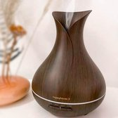 Aroma diffuser Happyhaves Spirit - aromatherapie olie vernevelaar - donker bruin in hout look - XL water reservoir 600ml - grote ruimte