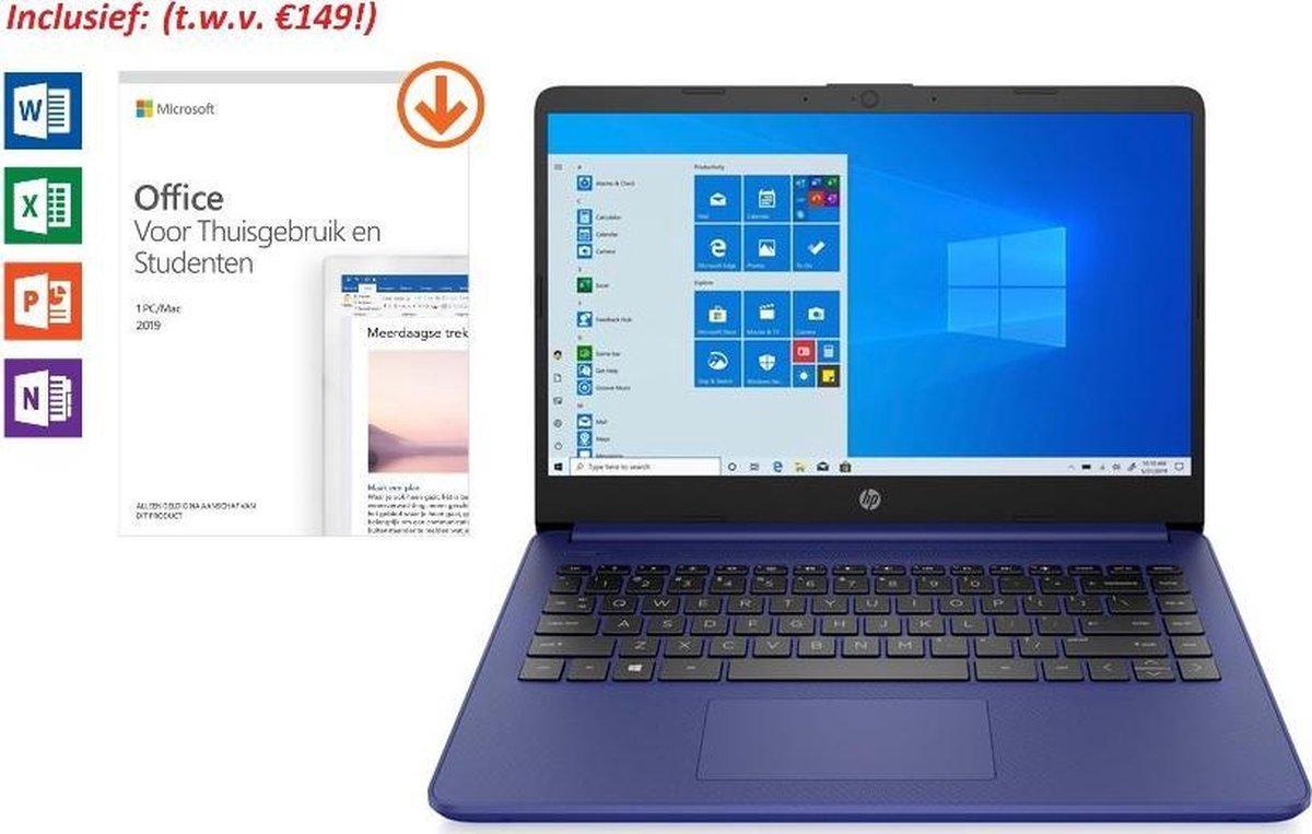HP 14 inch Laptop - AMD Ryzen 3 - Blauw - 4GB RAM - 128GB SSD - dubbel voordeel: van €549,99 >> €499,99 & tijdelijk met Office 2019 Home & Student 2019 t.w.v. €149!