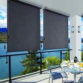 SONGMICS verticale luifel 1,6 x 2,5 m voor balkon, terras, met grijze luifelcassette, verticale luifel voor buiten, voor wind-, zonwering en privacybescherming, waterdicht, antraciet GSA165GY