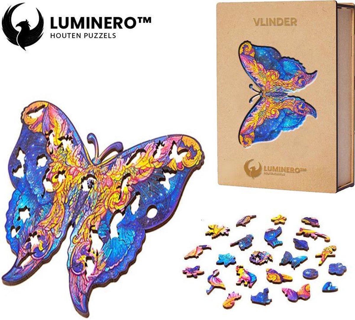 Luminero™ Houten Vlinder Jigsaw Puzzel - A5 Formaat Jigsaw - Unieke 3D Puzzels - Huisdecoratie - Wooden Puzzle - Volwassenen & Kinderen - Incl. Houten Doos