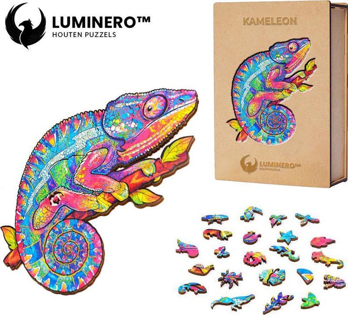 Luminero™ Houten Kameleon Jigsaw Puzzel - A5 Formaat Jigsaw - Unieke 3D Puzzels - Huisdecoratie - Wooden Puzzle - Volwassenen & Kinderen - Incl. Houten Doos