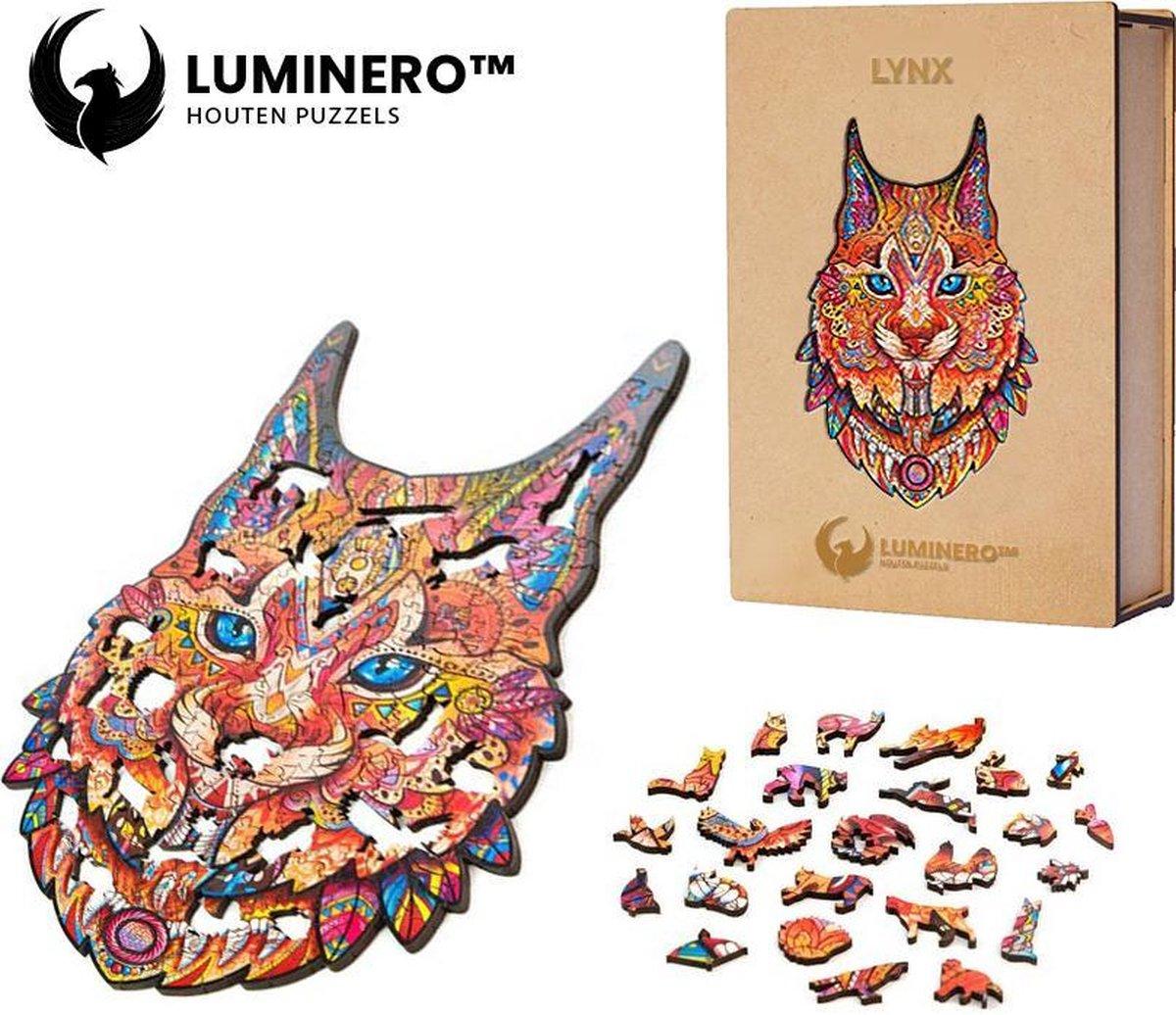 Luminero™ Houten Lynx Jigsaw Puzzel - A5 Formaat Jigsaw - Unieke 3D Puzzels - Huisdecoratie - Wooden Puzzle - Volwassenen & Kinderen - Incl. Houten Doos