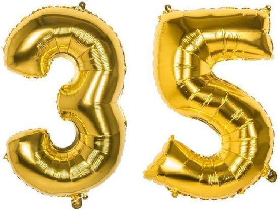 35 Jaar Folie Ballonnen Goud - Happy Birthday - Foil Balloon - Versiering - Verjaardag - Man / Vrouw - Feest - Inclusief Opblaas Stokje & Clip - XL - 82 cm