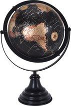 Wereldbol - Vintage look wereldbol- zwarte voetsteun- woondecoratie-globes