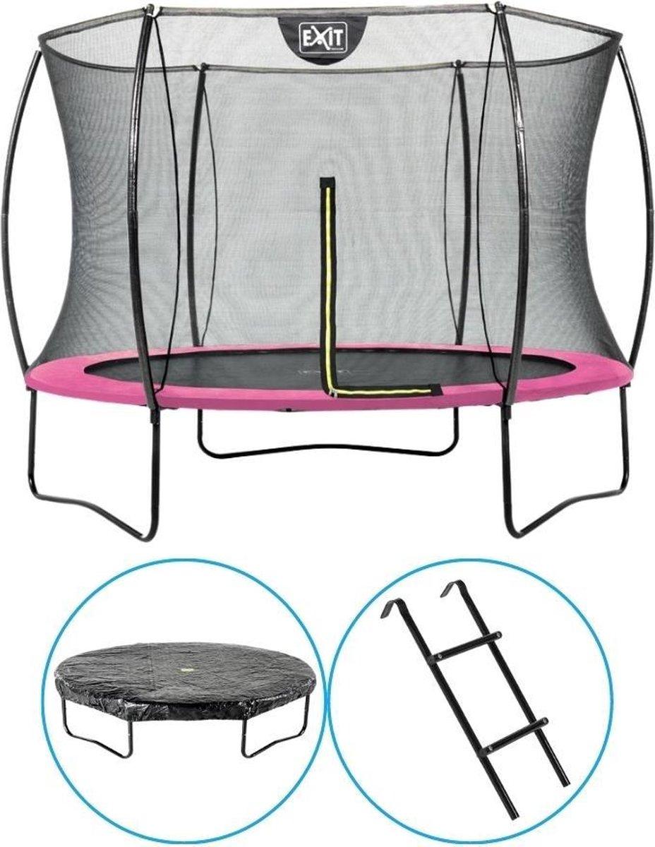 EXIT Toys - Trampoline Met Veiligheidsnet - Op Poten - Silhouette - Rond - ø244cm - Roze - Inclusief Ladder en Afdekhoes