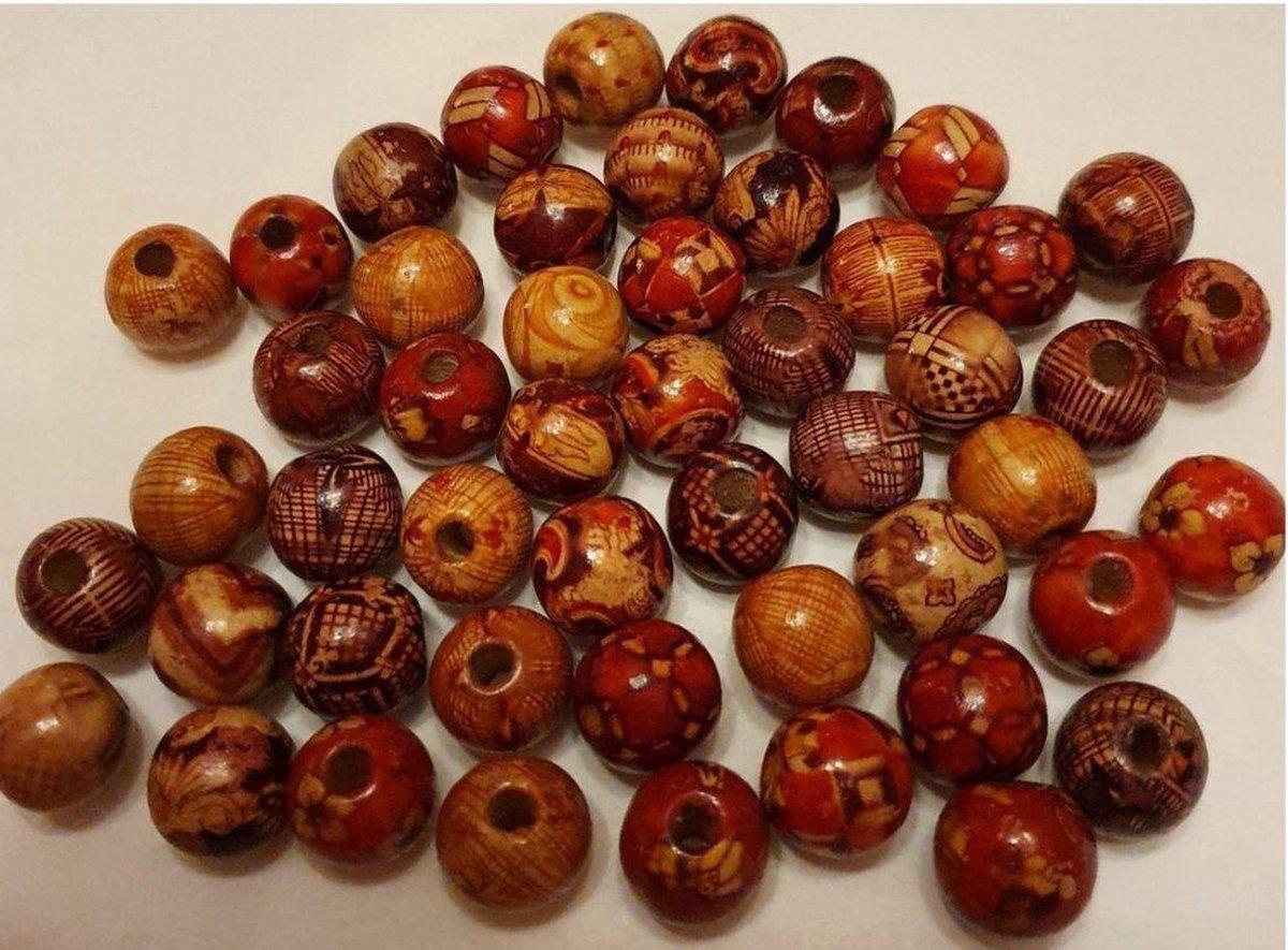 little star Kralen - Aziatische - Hout - 25 stuks - 12 mm x 12 mm ronde kraal