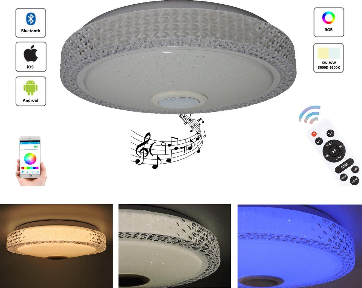 Varin® 48W Diamond LED Plafondlamp met bluetooth speaker - 48W led lamp - Ø 38cm sparkling plafoniere - 3700 Lumen - RGB - nachtlamp en wekker - smart lamp - dimbare plafonnière