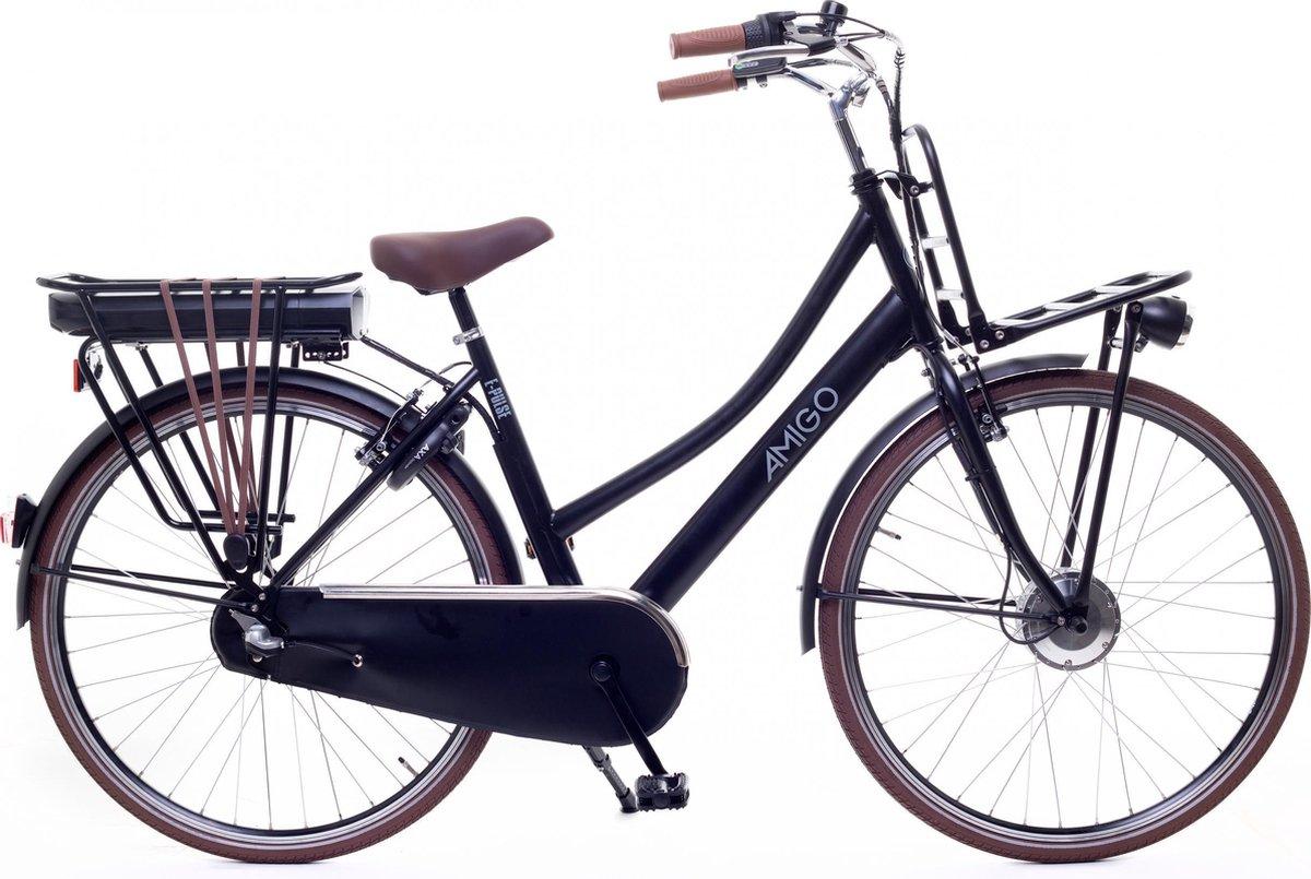 Amigo E-Pulse - Elektrische transportfiets voor dames - Met 3 versnellingen - Matzwart