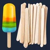 100 Stuks - Houten ijsstokjes - Zelf ijsjes maken - Ijslollystokjes - Zomerijs - DIY