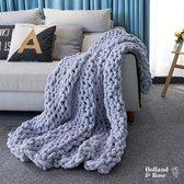 Weighted blanket - Chenille Chunky - Gebreide Deken - decoratie - Snuggle -  kamer decoratie - Plaids - 100x150cm - Iicht grijs