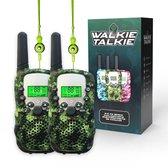 M.Y.© Premium Walkie Talkie Voor Kinderen en Volwassenen – Portofoon Tot 5 KM Bereik – Lichtfunctie – Camouflage Groen - Gratis bijpassende Koordjes