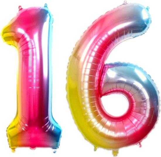 Folie Ballon Cijfer 16 Jaar Regenboog 70Cm Verjaardag Folieballon Met Rietje