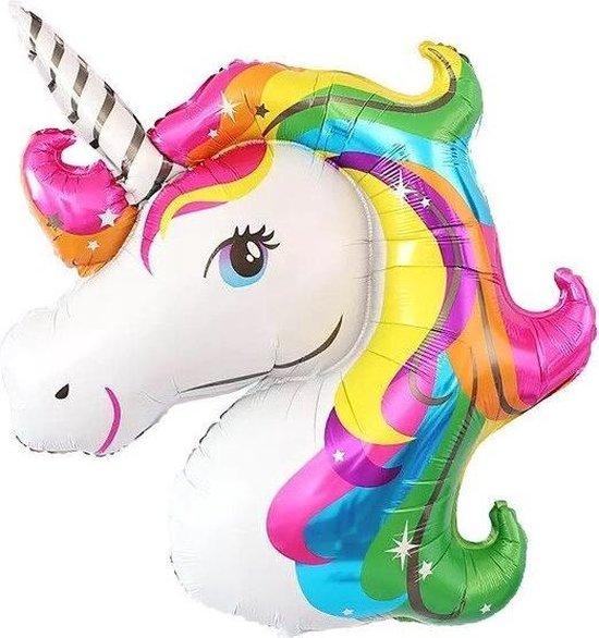 Unicorn grote ballon - eenhoorn reuzeballon- regenboog - folieballon - XL ballon - rainbow - 100 cm x 70 cm - verjaardag - party - feest