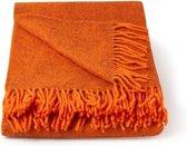 Plaid- Wol- Klippan-Deken - Woon accessoire - wollendeken - Oranje-Terra