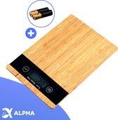 Alpha Digitale Keuken Weegschaal - 1gr tot 5kg - Incl. Batterijen - Bamboe