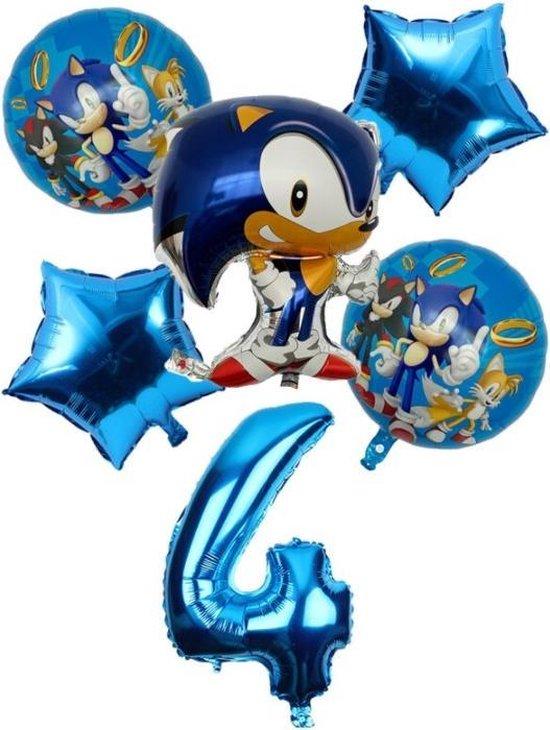 Sonic The Hedgehog Ballonen 4  Jaar Ballonnen set + 10 Blauwe Latex Ballonnen