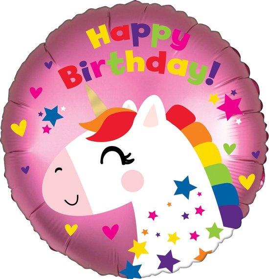Amscan Folieballon Unicorn Birthday Junior 25 Cm Roze