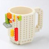 TDR - Lego Mok/ Build on Brick Mug - Wit - 350 ml - bouw je eigen mok met bouwsteentjes - BPA vrije drinkbeker cadeau voor kinderen of volwassenen - koffie thee limonade of andere dranken - pennenbeker - creatief accessoire voor op bureau